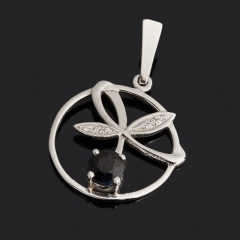 Кулон сапфир чёрный Индия (серебро 925 пр. родир. бел.) огранка
