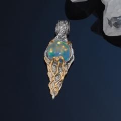 Кулон опал благородный белый Эфиопия (серебро 925 пр. позолота, родир. сер.)