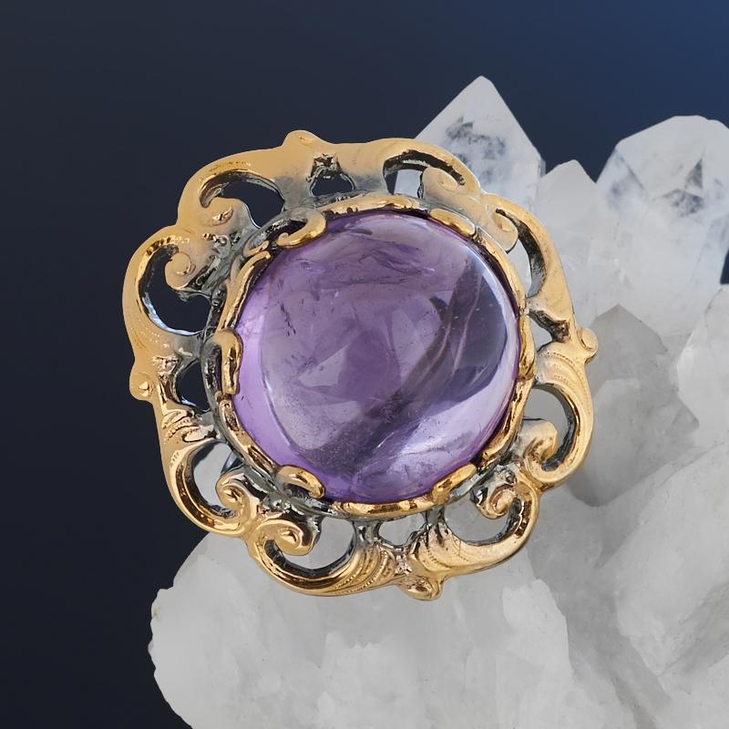 Кольцо аметист Бразилия (серебро 925 пр. позолота, родир. черн.) размер 17,5