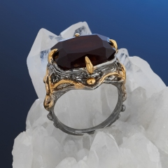 Кольцо гранат гессонит Нигерия (серебро 925 пр. позолота, родир. сер.) огранка размер 17