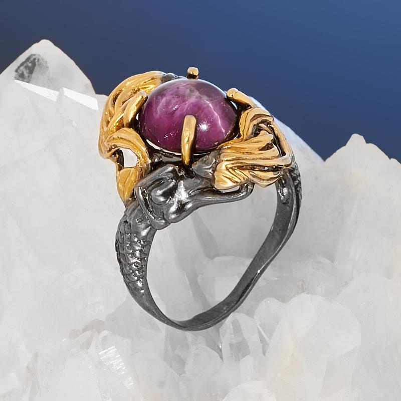 Кольцо корунд рубиновый звездчатый (серебро 925 пр. позолота, родир. черн.) размер 17,5
