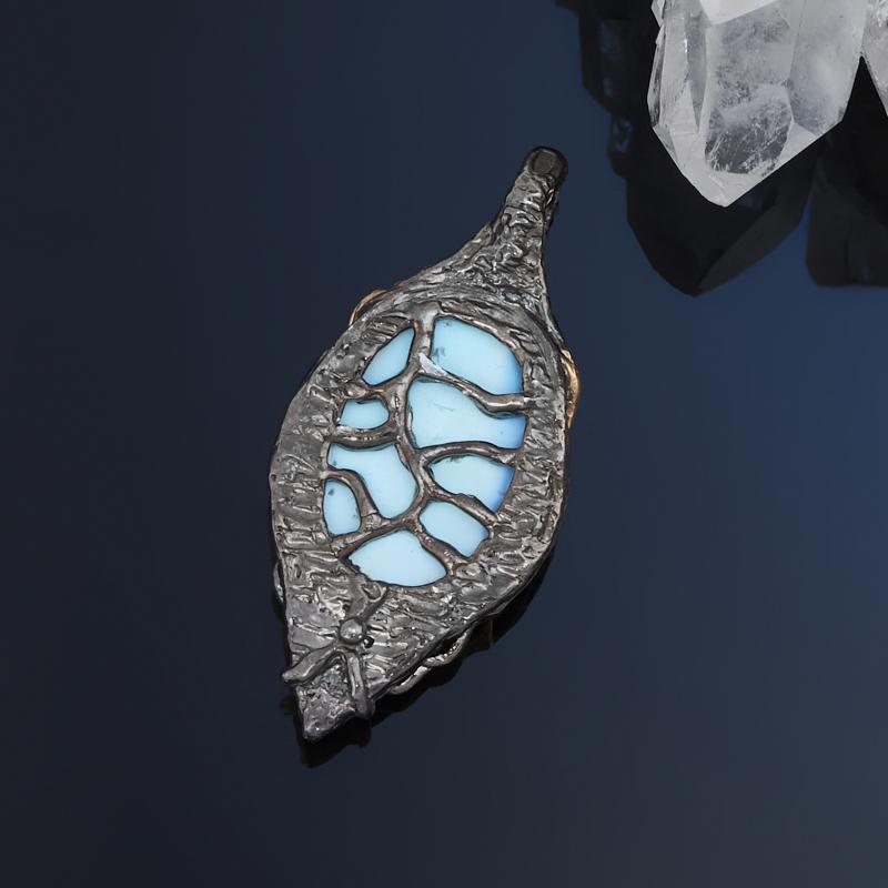 Кулон бирюза Казахстан (серебро 925 пр. позолота, родир. черн.)