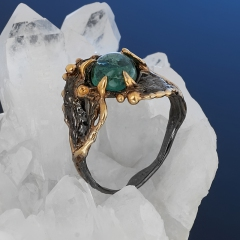 Кольцо турмалин зеленый (верделит) Бразилия (серебро 925 пр. родир. черн. позолота) размер 17,5