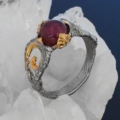 Кольцо турмалин розовый (рубеллит) Бразилия (серебро 925 пр. позолота, родир. сер.) размер 16,5