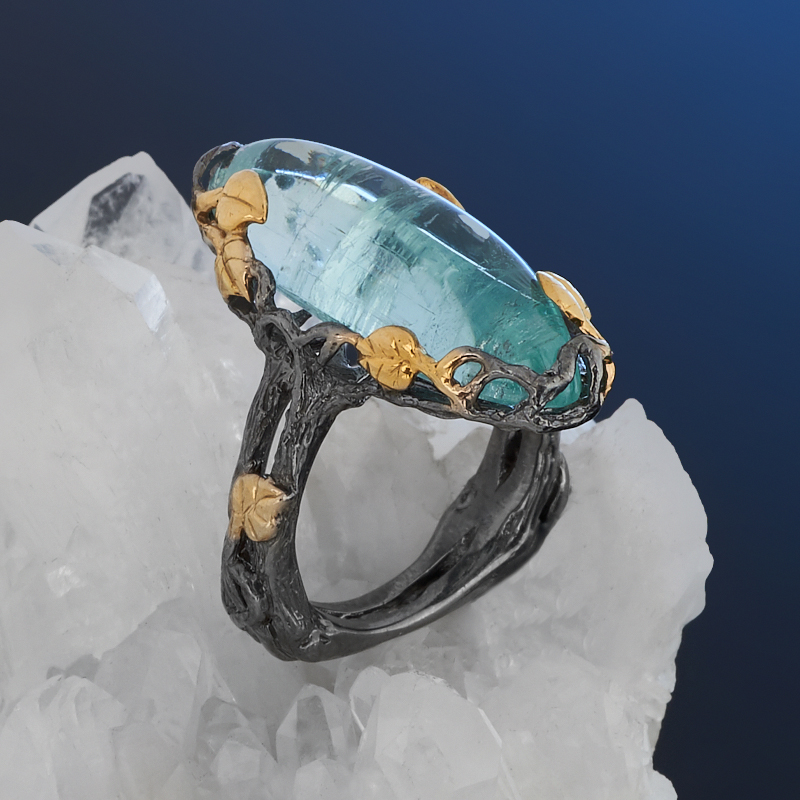 Кольцо аквамарин Россия (серебро 925 пр. позолота, родир. черн.) размер 17,5