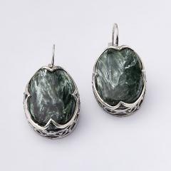 Серьги клинохлор (серафинит) Россия (серебро 925 пр. оксидир.)