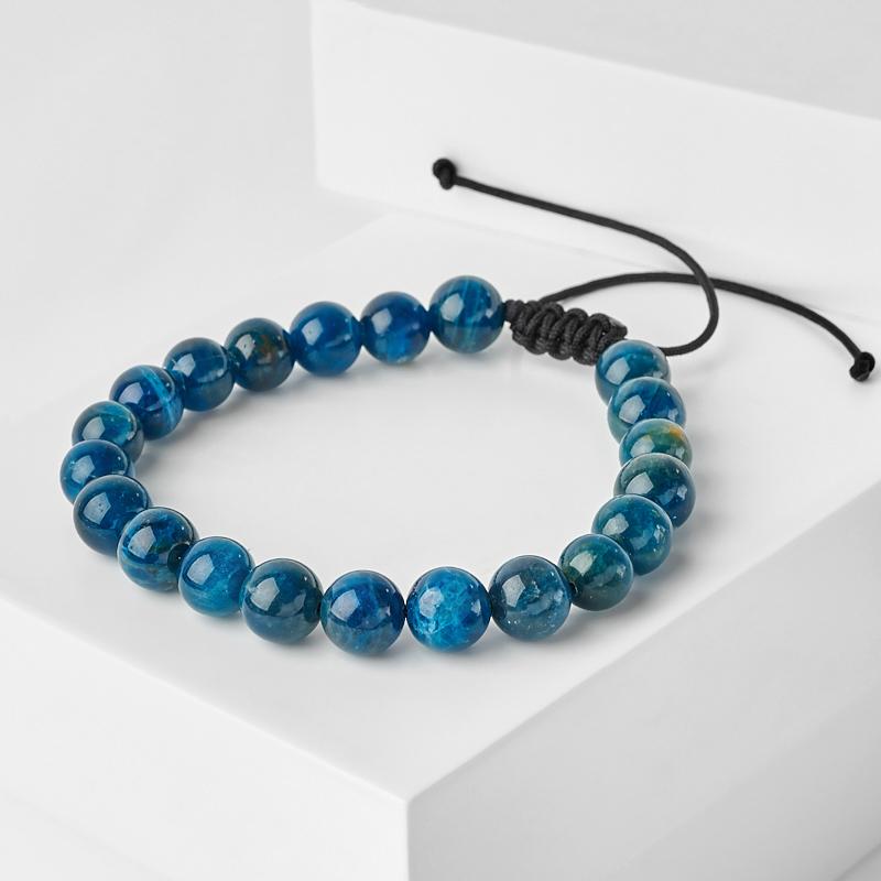 цена Браслет апатит синий шамбала 8 мм 16 см (регулируемый) (текстиль) онлайн в 2017 году