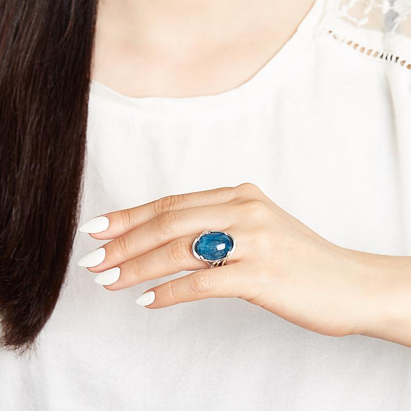 Кольцо апатит синий Бразилия (серебро 925 пр. оксидир.) размер 18