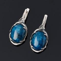 Серьги апатит синий Бразилия (серебро 925 пр. оксидир.)