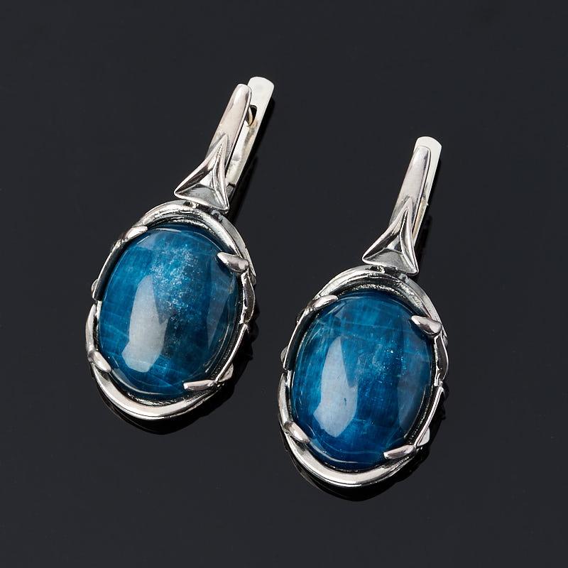 Серьги апатит синий (серебро 925 пр. оксидир.)