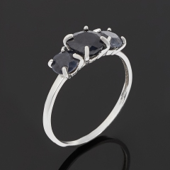 Кольцо сапфир черный Индия (серебро 925 пр. родир. бел.) огранка размер 17,5