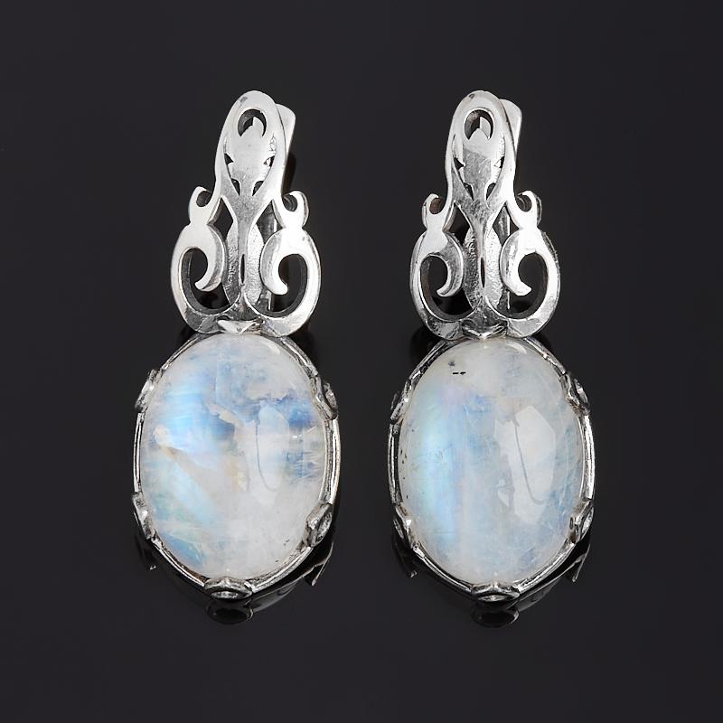 Серьги лунный камень (адуляр) (серебро 925 пр. оксидир.)