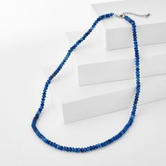 Бусы кианит синий Бразилия (биж. сплав) 4 мм 44 см (+4 см)