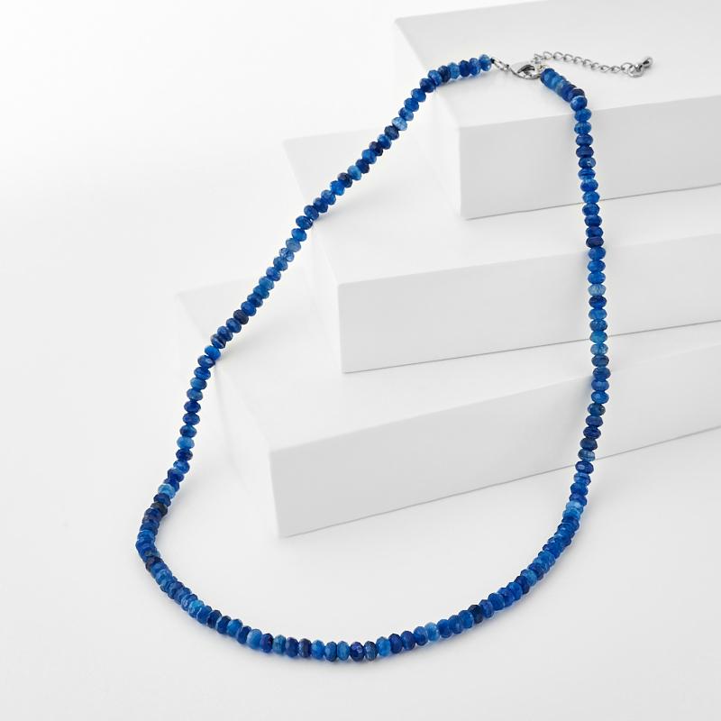 Бусы кианит синий (биж. сплав) 4 мм 44 см (+4 см)