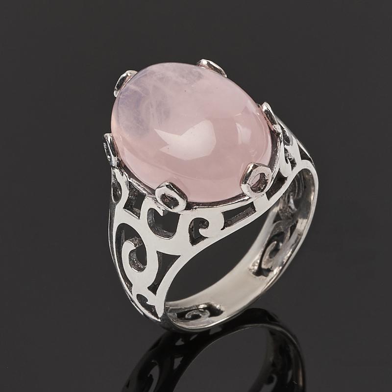 Кольцо розовый кварц  (серебро 925 пр. оксидир.) размер 18