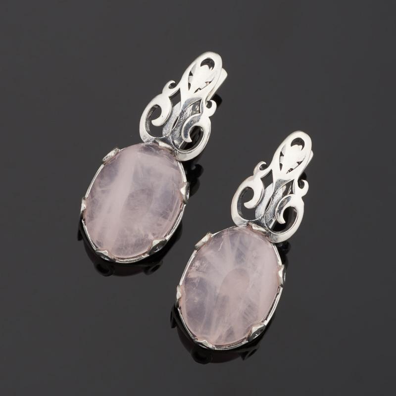 Серьги розовый кварц (серебро 925 пр. оксидир.) серьги амазонит розовый кварц