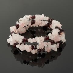 Браслет микс гранат, розовый кварц (биж. сплав) пружина 19 см (регулируемый)