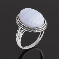 Кольцо агат голубой Намибия (серебро 925 пр. родир. бел.) размер 16,5