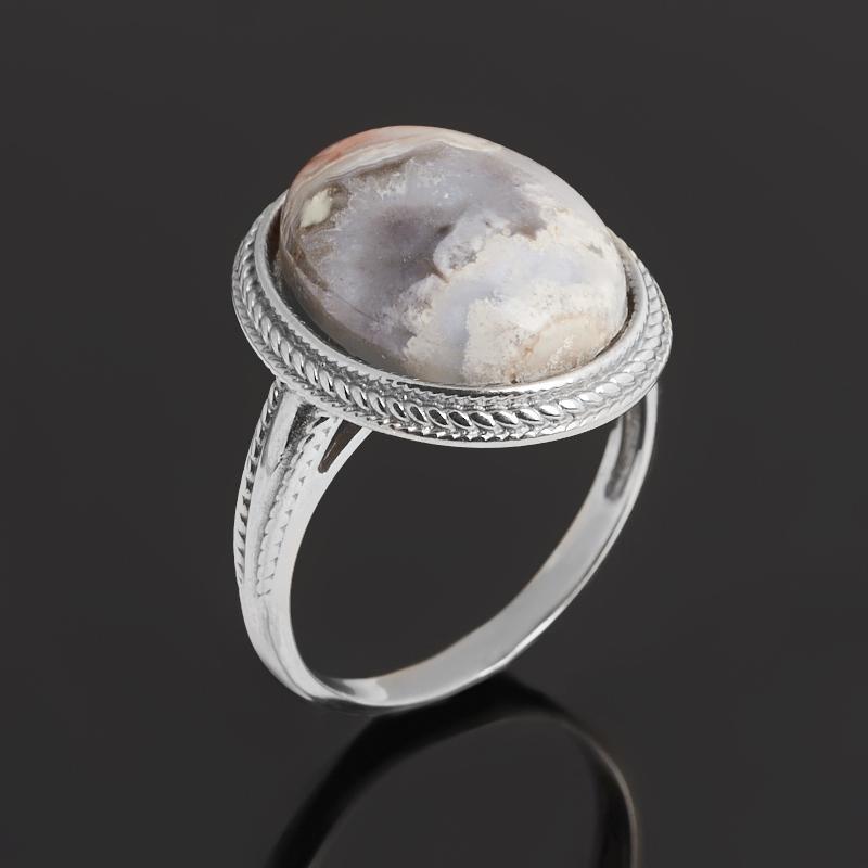 Кольцо агат крейзи (серебро 925 пр. родир. бел.) размер 18