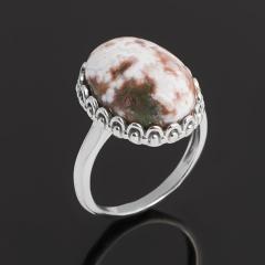Кольцо яшма океаническая Мадагаскар (серебро 925 пр. родир. бел.) размер 17