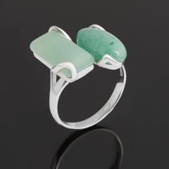 Кольцо авантюрин зеленый Индия (серебро 925 пр. родир. бел.) размер 19