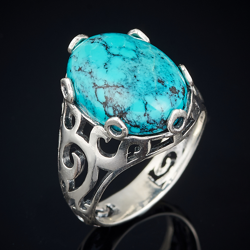 Кольцо бирюза Тибет (серебро 925 пр. оксидир.) размер 18
