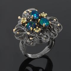 Кольцо опал благородный синий Австралия (серебро 925 пр. позолота, родир. черн.) размер 17