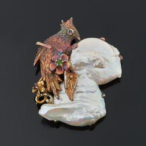 Брошь жемчуг барокко белый Гонконг (серебро 925 пр. оксидир.)
