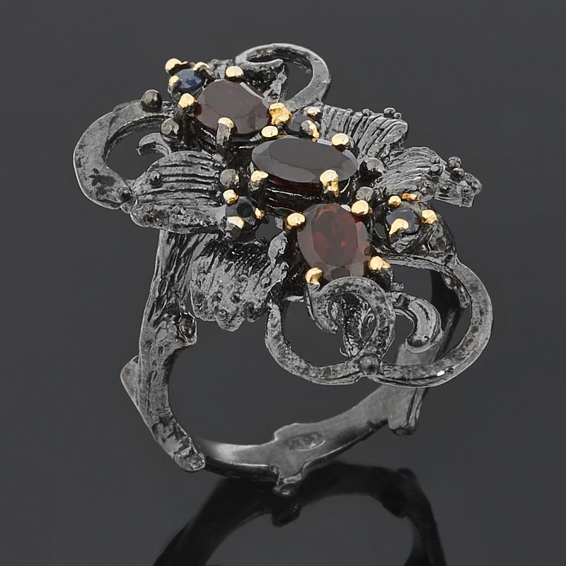 Кольцо гранат альмандин (серебро 925 пр. позолота, родир. черн.) огранка размер 18 фото