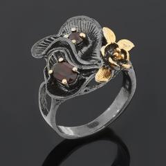 Кольцо гранат альмандин, родолит (серебро 925 пр. позолота, родир. черн.) огранка размер 17