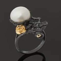 Кольцо жемчуг белый Гонконг (серебро 925 пр. позолота, родир. черн.) размер 17,5