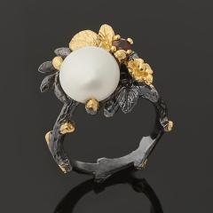 Кольцо жемчуг белый Гонконг (серебро 925 пр. позолота, родир. черн.) размер 17