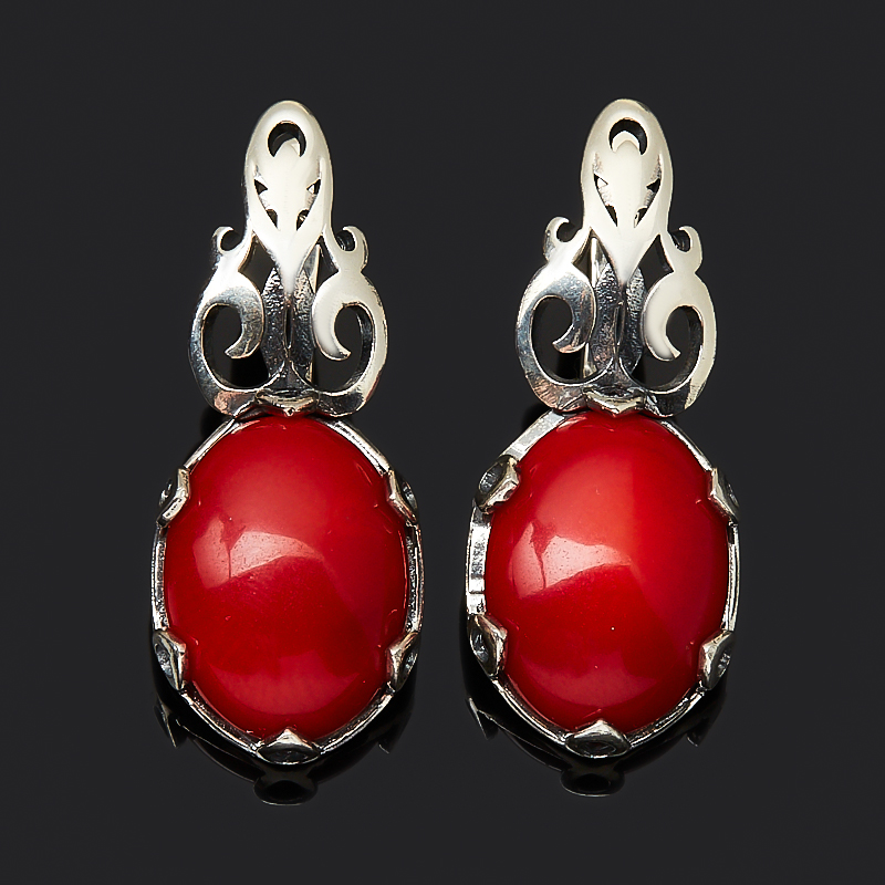 Серьги коралл красный (серебро 925 пр. оксидир.) браслет коралл красный 17 cм серебро 925 пр позолота