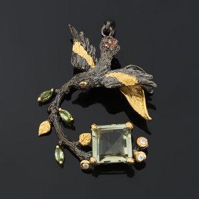 Кулон празиолит Бразилия (серебро 925 пр. позолота, родир. черн.) огранка