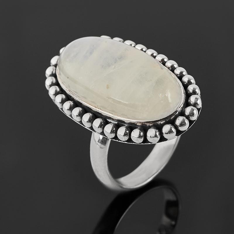 Кольцо лунный камень (адуляр) (серебро 925 пр. оксидир.) размер 17