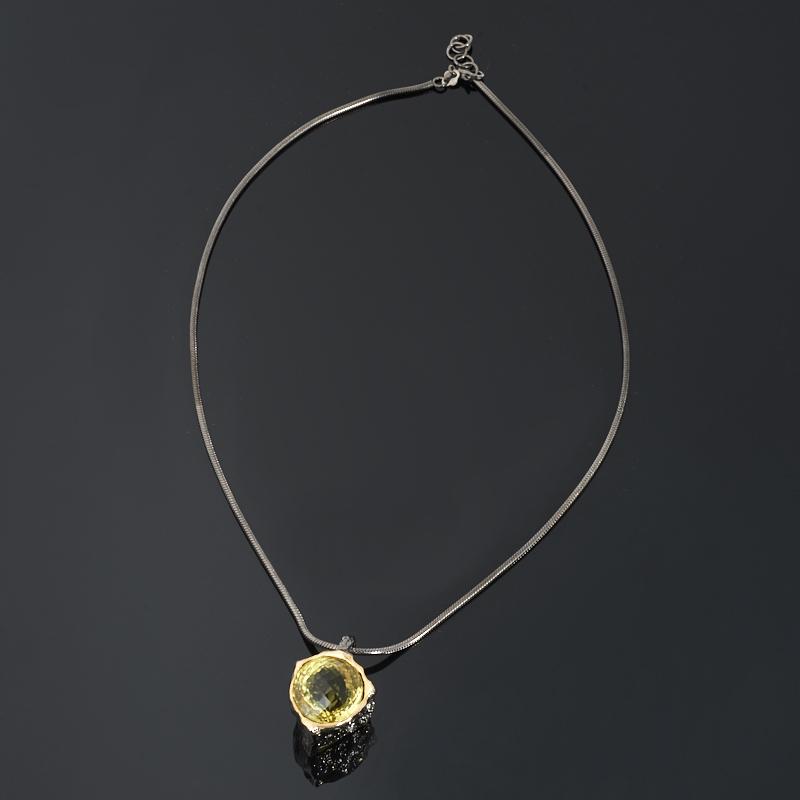 Кулон цитрин Бразилия (серебро 925 пр. позолота, родир. черн.) огранка