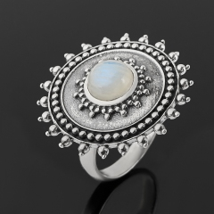 Кольцо лунный камень (адуляр) Индия (серебро 925 пр. оксидир.) размер 18