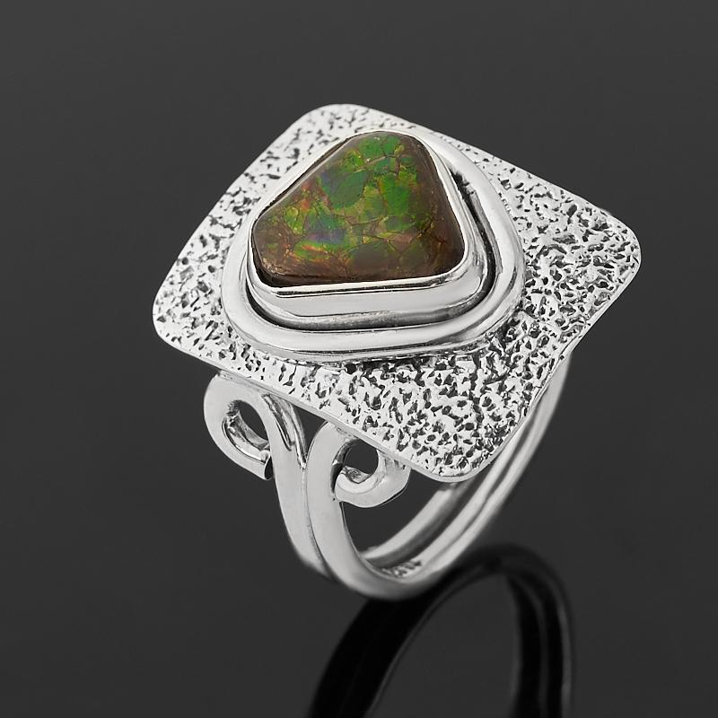 Кольцо аммолит  (серебро 925 пр. оксидир.)