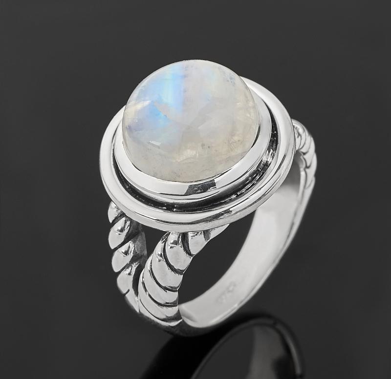 Кольцо лунный камень (адуляр) (серебро 925 пр. оксидир.) размер 18