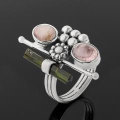 Кольцо турмалин зеленый (верделит), розовый (рубеллит) Бразилия (серебро 925 пр. оксидир.) размер 17