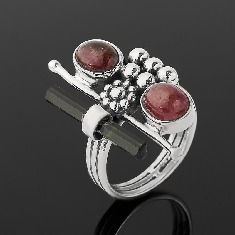 Кольцо турмалин зеленый (верделит), розовый (рубеллит) (серебро 925 пр. оксидир.) размер 18