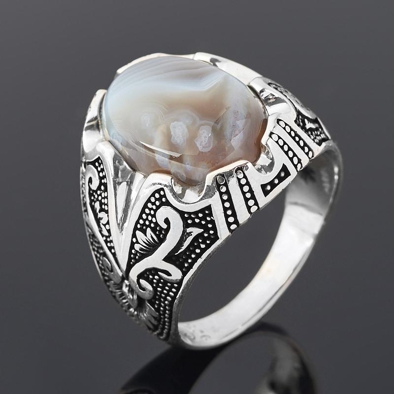 Кольцо агат серый (серебро 925 пр. оксидир.) размер 22 фото