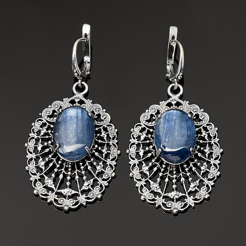 Серьги кианит синий (серебро 925 пр. оксидир.) фото
