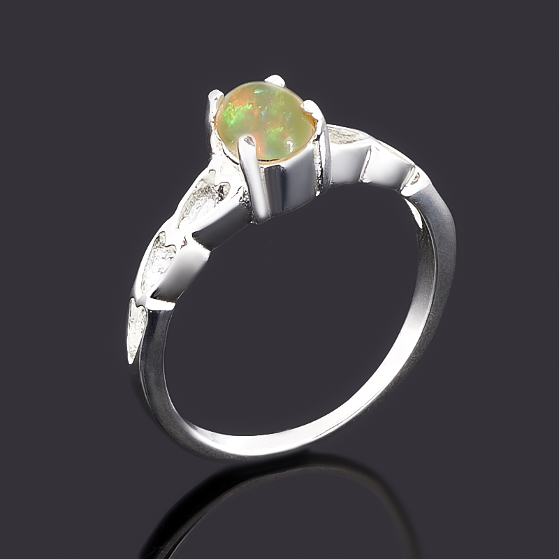 Кольцо опал благородный желтый Эфиопия (латунь посеребр.) размер 17
