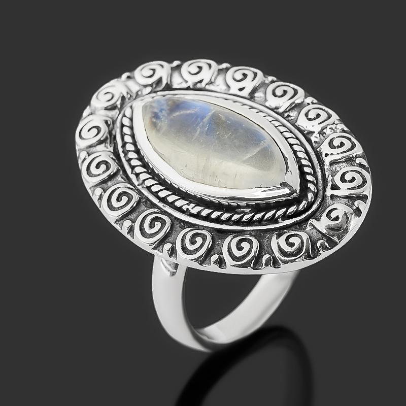 Кольцо лунный камень (адуляр) (серебро 925 пр. оксидир.) размер 16,5
