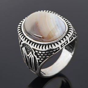 Кольцо агат серый Ботсвана (серебро 925 пр. оксидир.) размер 19,5