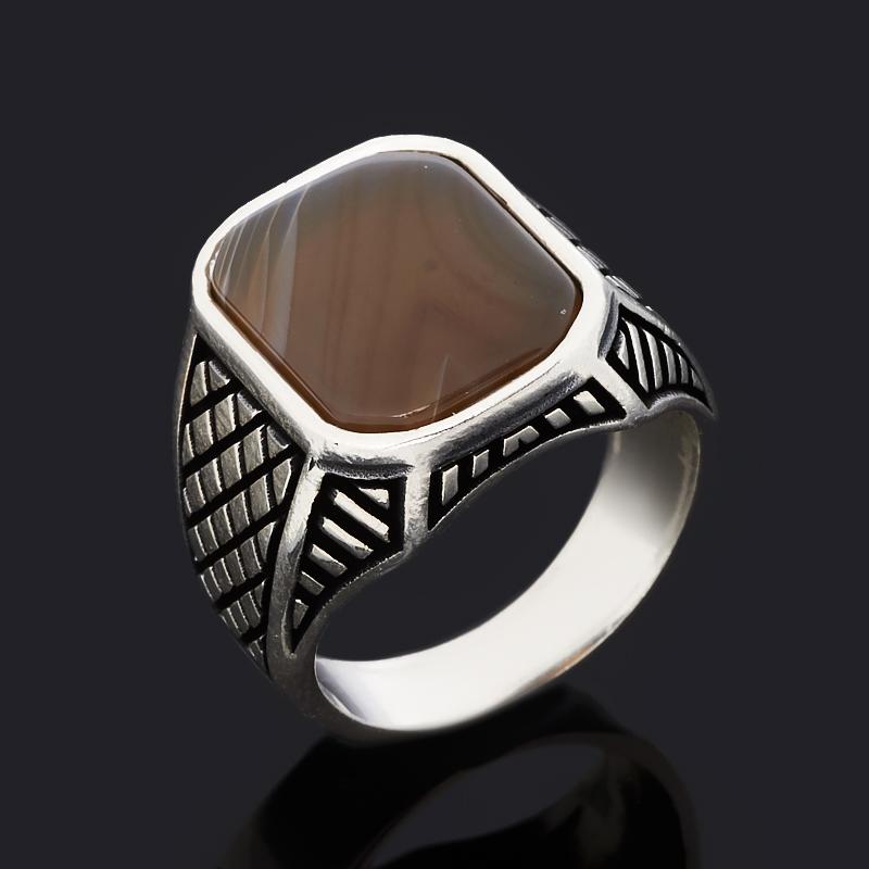 Кольцо агат серый (серебро 925 пр. оксидир.) размер 19,5 фото
