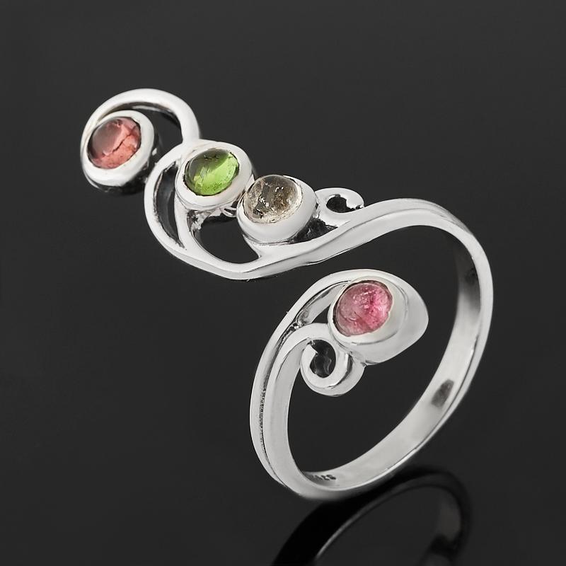 Кольцо турмалин бесцветный (ахроит), зеленый (верделит), розовый (рубеллит)  (серебро 925 пр.) (регулируемый) размер 19