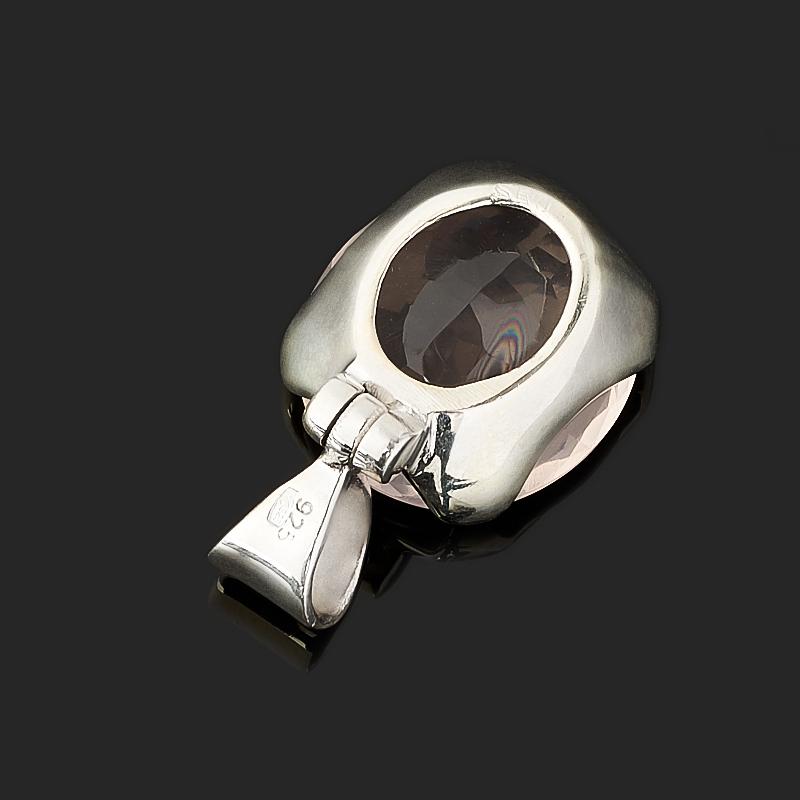 Кулон розовый кварц Бразилия (серебро 925 пр.) овал огранка