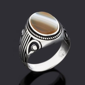 Кольцо агат серый Ботсвана (серебро 925 пр. оксидир.) размер 20,5